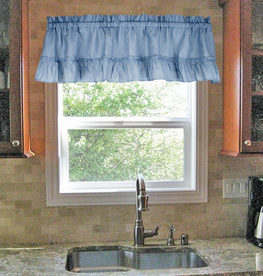 Stacey Solid Color Ruffled Filler Valance Kitchen Window Curtain
