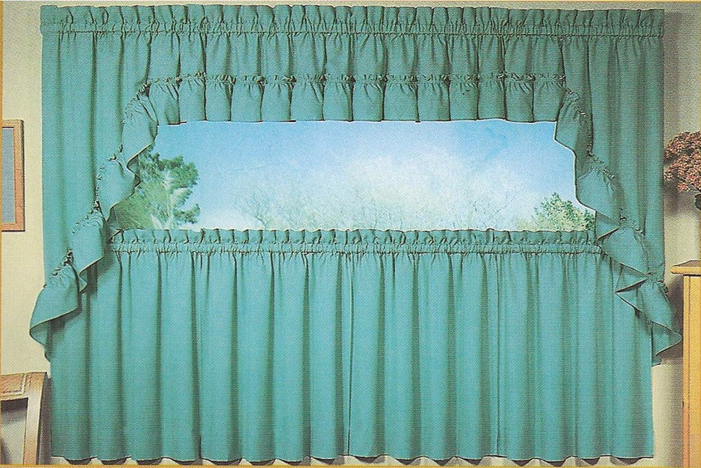 Stacey Solid Color Ruffled Swags Kitchen Window Curtains Pair