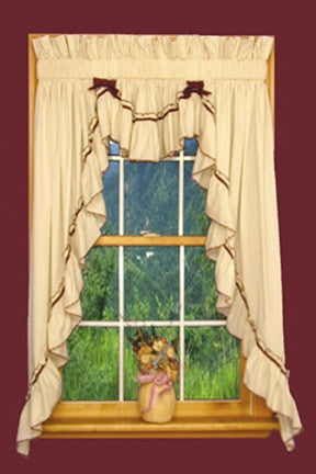 Jenny 3 Piece Country Ruffled Swags & Filler Valance Window Curtains Set