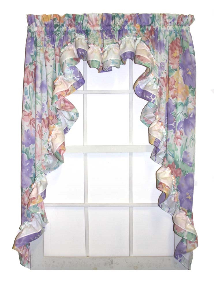Nelly Multi Color Floral 3 Piece Ruffled Swags & Filler Valance Window Curtains Set