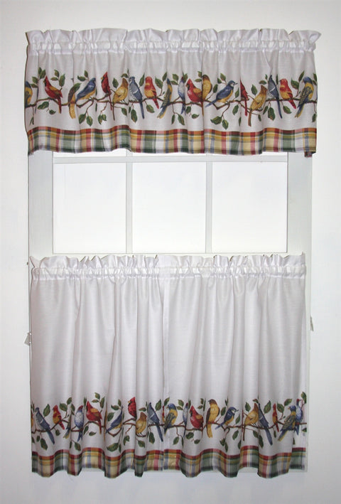 Songbirds Print Tailored Tiers & Valance Window Curtains Set