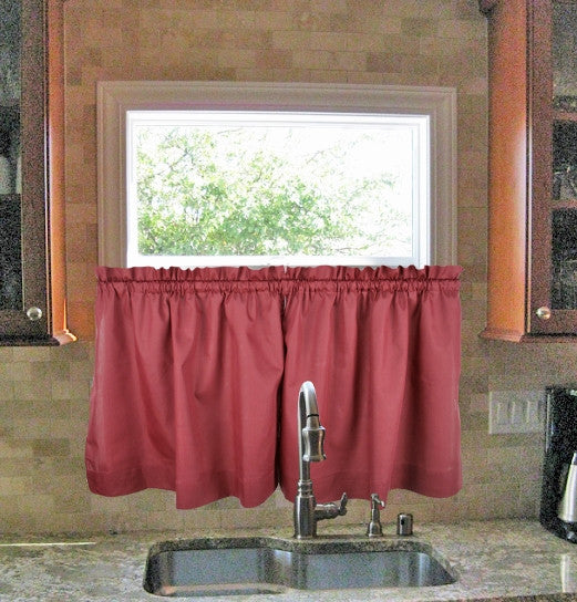 Stacey Solid Color Tailored Tiers Kitchen Window Curtains