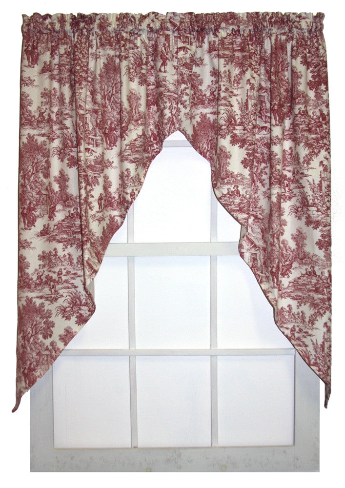 Victoria Park Toile Print Jabots Window Curtains Pair