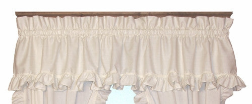 Country Cottage White Ruffled Cape Cod Valance Window