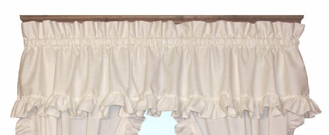 Country Cottage White Ruffled Cape Cod Valance Window Curtain