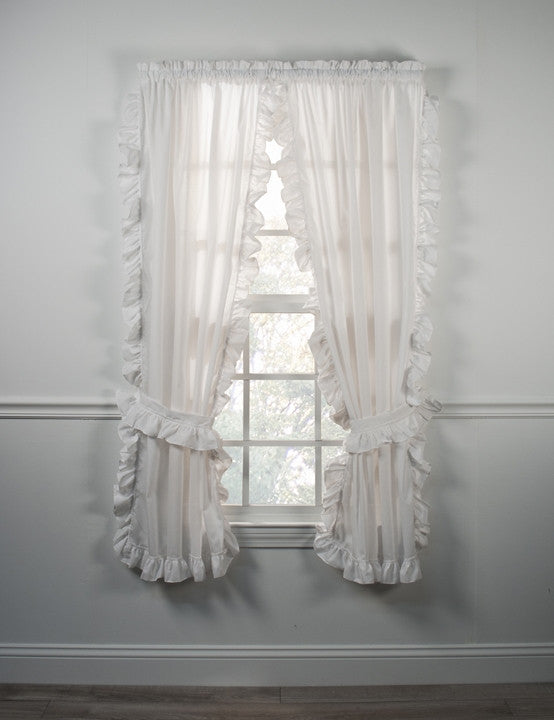 Country Cottage White Ruffled Cape Cods Window Curtains