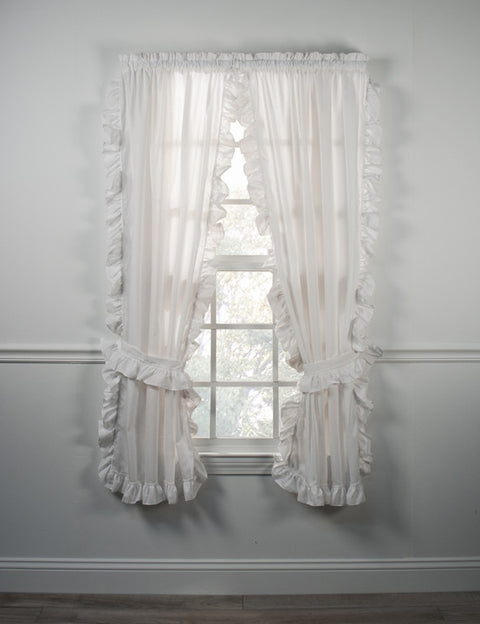 Country Cottage White Ruffled Cape Cods Window Curtains with Tie Backs