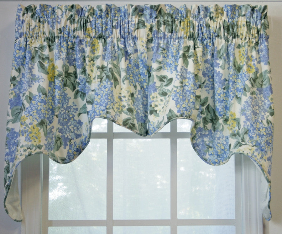 Hydrangea Floral Print Lined Empress Swags Valance Window Curtain