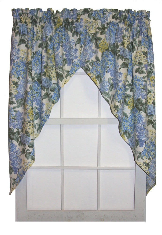 Hydrangea Floral Print Jabots Window Curtains Pair