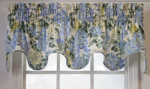Hydrangea Floral Print Lined Scallop Valance Window Curtain