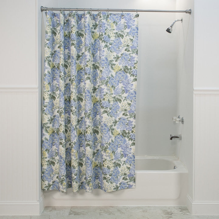 Hydrangea Floral Print Fabric Shower Curtain | Window Toppers