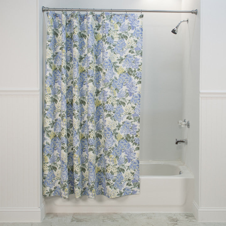 Hydrangea Floral Print Fabric Shower Curtain Window Toppers