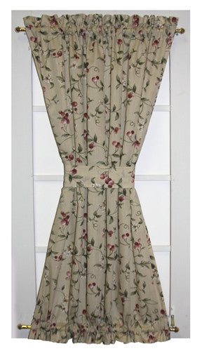 Cherry Blossoms Country Print Door Panel Curtain with Tie Back