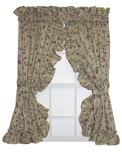 Cherry Blossoms Country Print Ruffled Priscilla Window Curtains with Bow Tie Backs