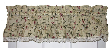 Cherry Blossoms Country Print Ruffled Valance Window Curtain