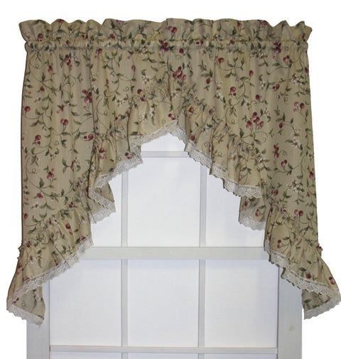 Cherry Blossoms Country Print  Ruffled Swags Window Curtains Pair