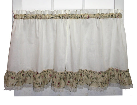 Cherry Blossoms Country Print Ruffled Tiers Window Curtains