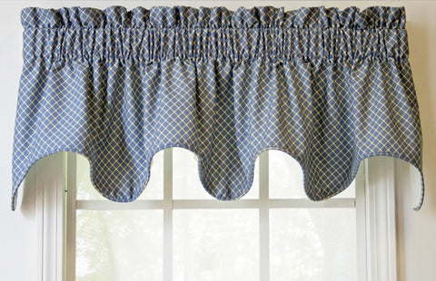 Tyvek Blue Diamond Print Lined Scallop Valance Window Curtain