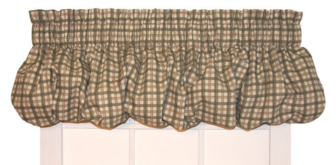 Bristol Plaid Print Pouf Balloon Valance Window Curtain