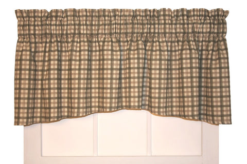Bristol Plaid Print Crescent Valance Window Curtain