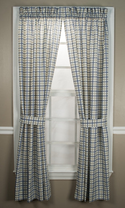 Bristol Plaid Print Tailored Panels Window Curtains with Tie Backs