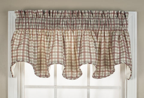 Bristol Plaid Print Lined Scallop Valance Window Curtain