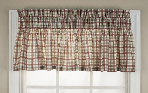 Bristol Plaid Print Tailored Valance Curtain