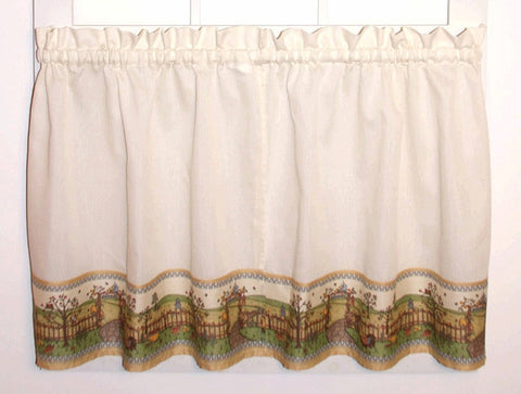 Orchard Country Print Tailored Tiers Window Curtains
