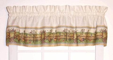Orchard Country Print Tailored Valance Window Curtain