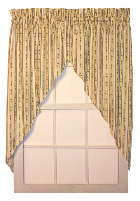 Cynthia Floral Stripe Print Jabots Window Curtains Pair