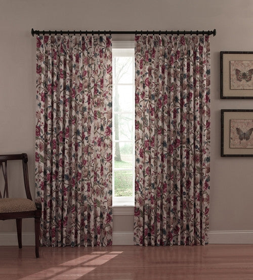 Elegant Cornwall Thermal Insulated Pinch Pleated Drapes With Jacobean Floral Print