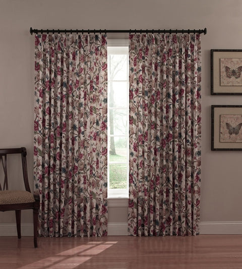 Cornwall Thermal Insulated Pinch Pleated Drapes with Jacobean Floral Print
