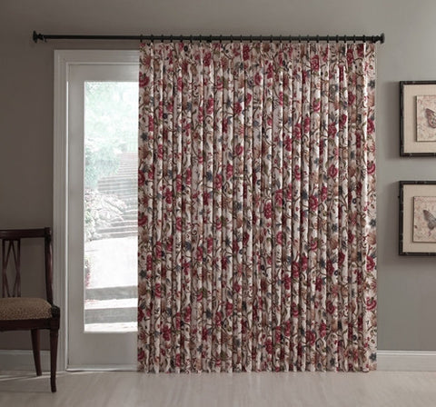 Cornwall Thermal Insulated Pinch Pleated Patio Door Drapery Panel with Jacobean Floral Print