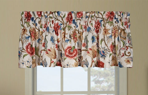 Cornwall Thermal Insulated Tailored Valance Window Curtain with Jacobean Floral Print