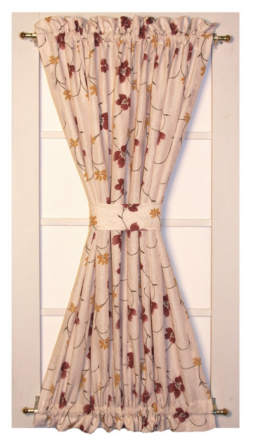 zoe floral crushed taffeta fabric door panel curtain with tie back - Door Panel Curtains