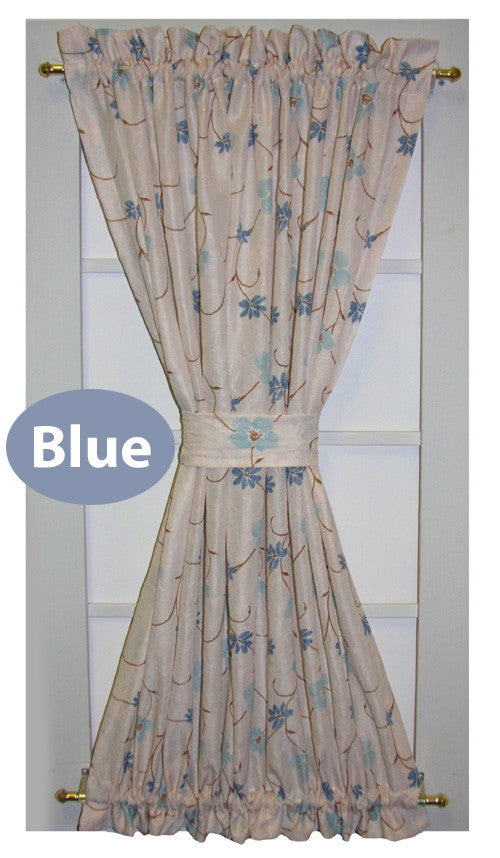 Zoe Floral Crushed Taffeta Fabric Door Panel Curtain With Tie Back