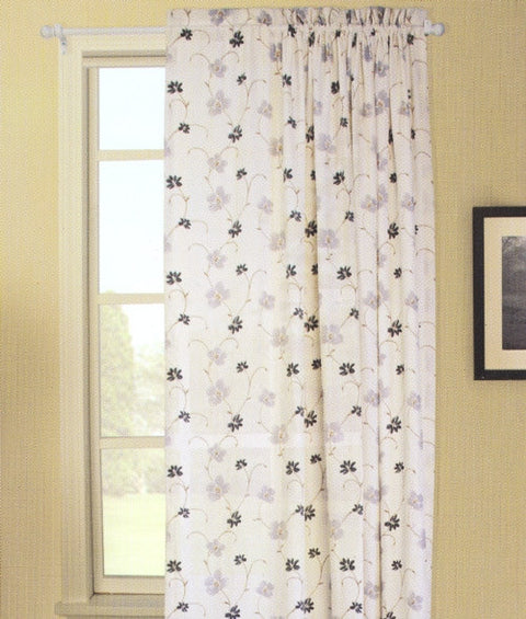 Zoe Floral Crushed Taffeta Fabric Panel Window Curtain