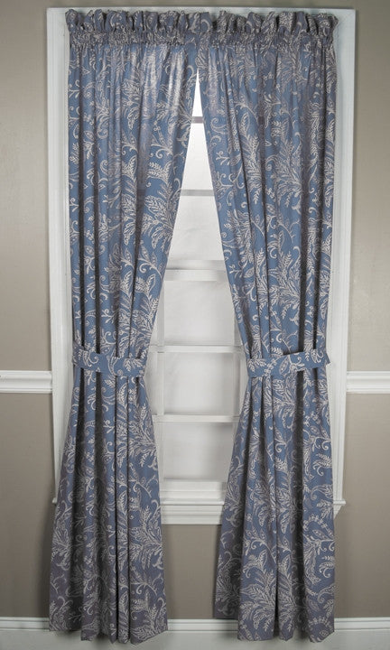 Floating Leaves Print Tailored Panels Window Curtains with Tie Backs