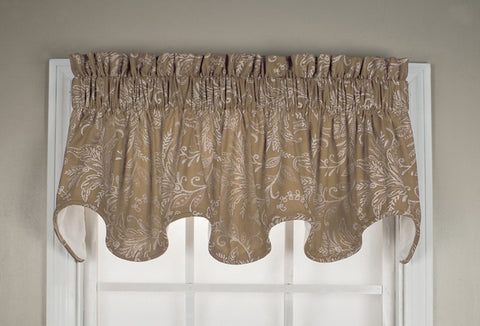 Floating Leaves Print Lined Scallop Valance Window Curtain