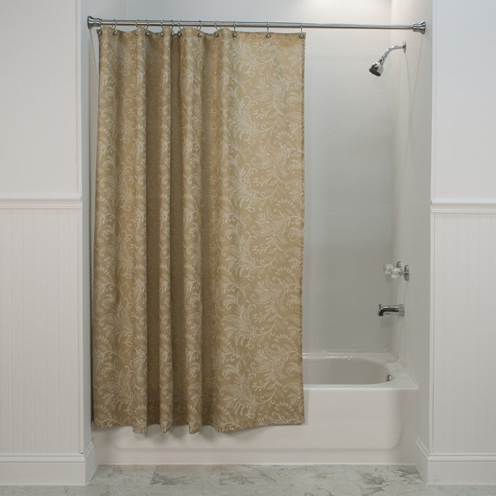 Floating Leaves Print Fabric Shower Curtain
