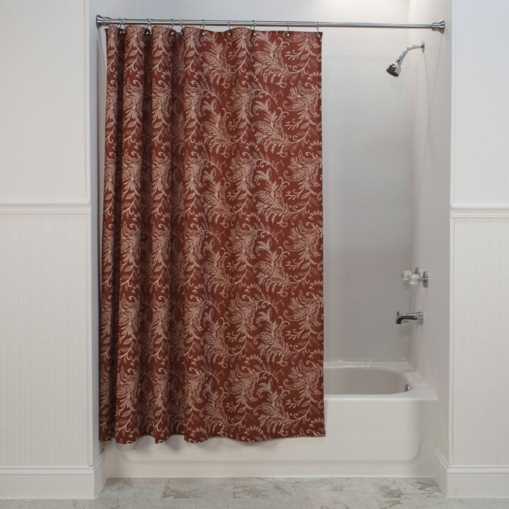 Floating Leaves Print Fabric Shower Curtain | Window Toppers