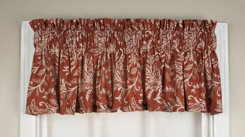 Floating Leaves Print Tailored Valance Window Curtain