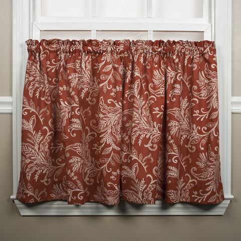 Floating Leaves Print Tailored Tiers Window Curtains