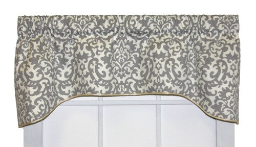 Duncan Damask Print Lined Arch Valance Window Curtain