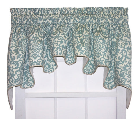 Duncan Damask Print Lined Duchess Swags Valance Window Curtain