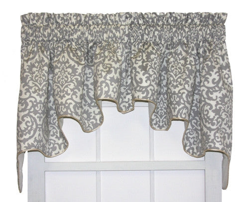 Duncan Damask Print Lined Duchess Swags Valance Window Curtain ...