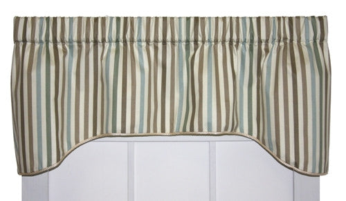 Line Up Stripe Print Lined Arch Valance Window Curtain