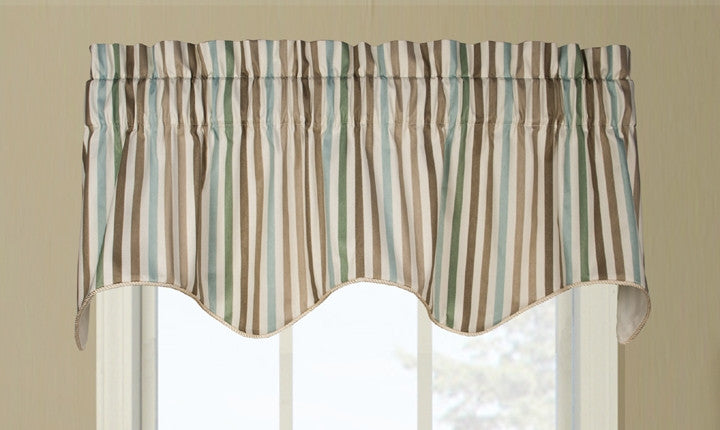 Line Up Stripe Print Lined Duchess Filler Valance Window Curtain