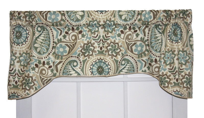 Paisley Prism Lined Arch Valance Window Curtain