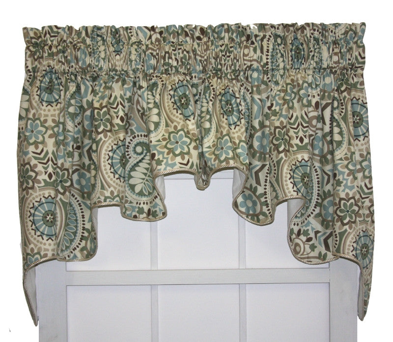 Paisley Prism Lined Duchess Swags Valance Window Curtain